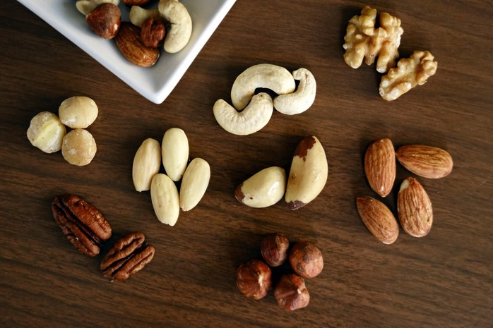 A variety of nuts on a table