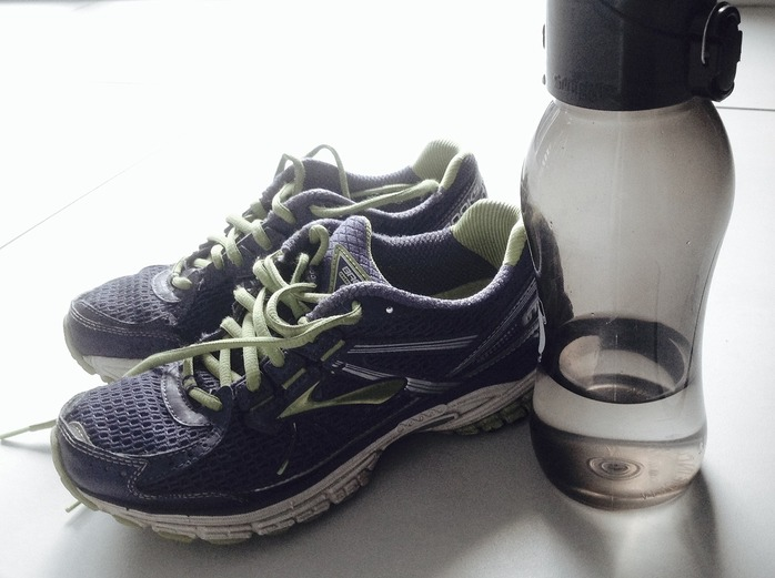 shoes and water bottle