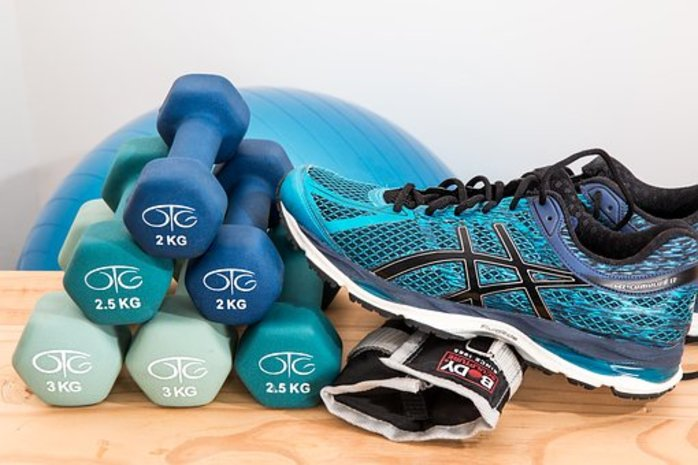 weights, ball and shoes